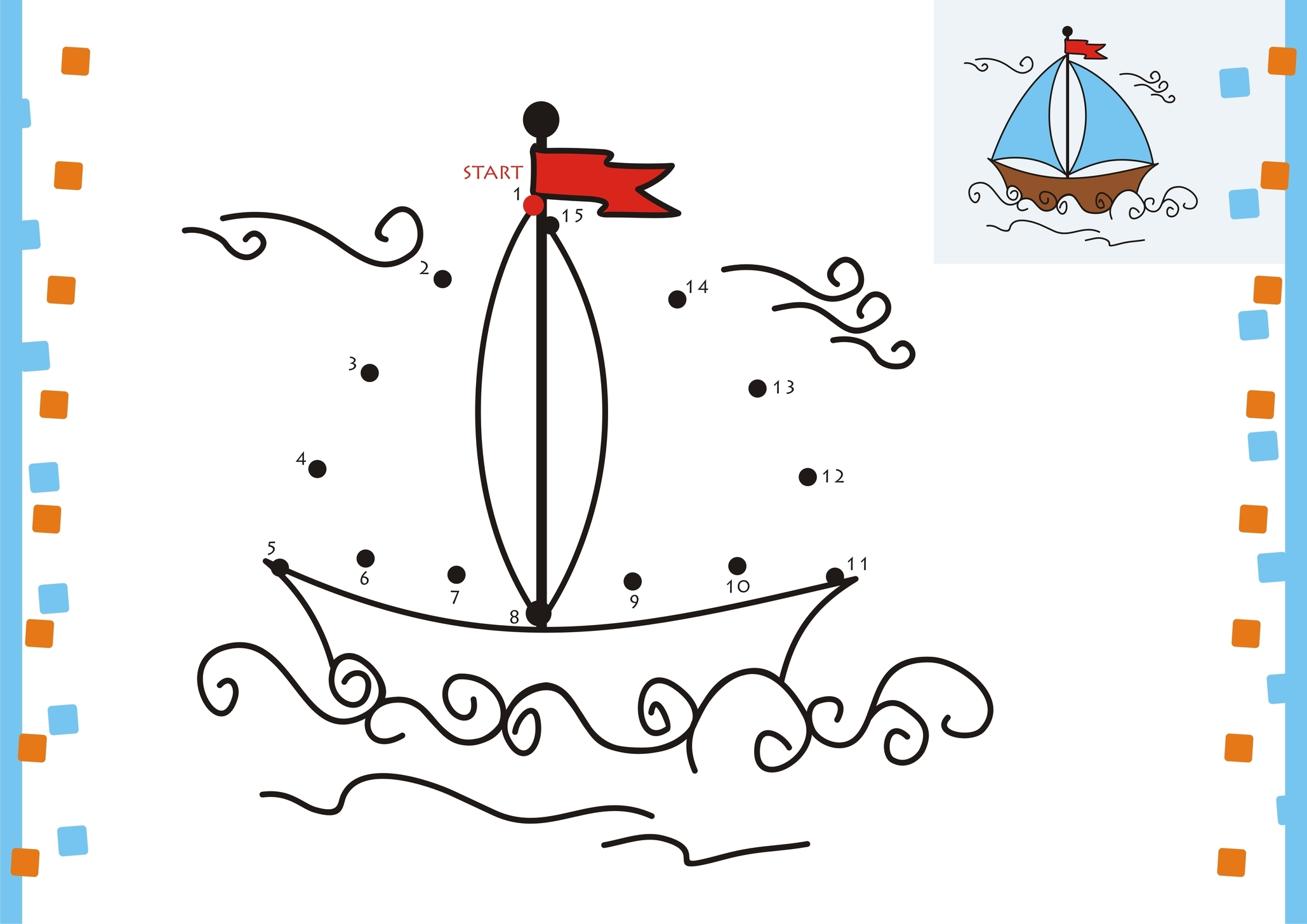dot to dot coloring pages boat